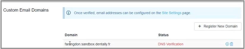 custom email domain pending